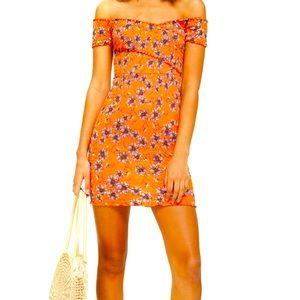 NWT TOPSHOP Off the Shoulder Dress orange US 12